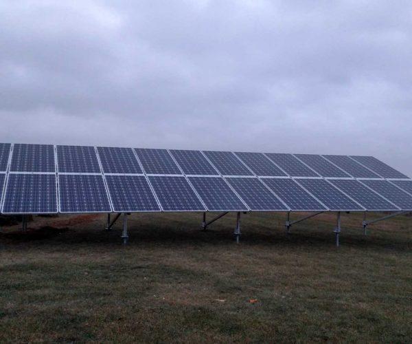 ground solar panel install